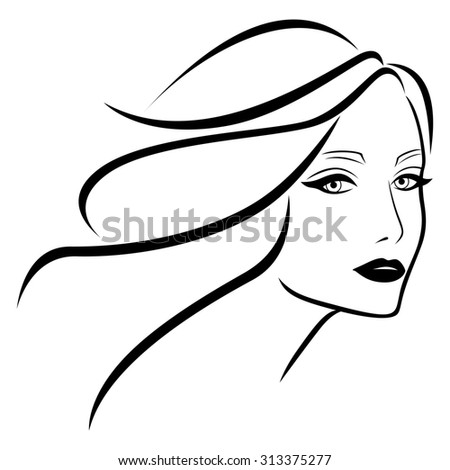 Abstract beautiful young lady with wavy hair, hand drawing outline