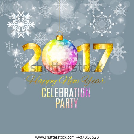 Abstract Beauty 2017 New Year Celebration Poster Background.  Illustration