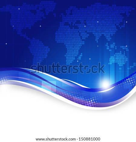 abstract binary code world map technology blue background