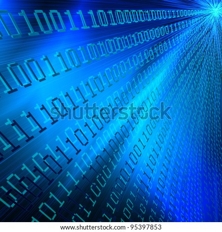 abstract binary digits explosion as modern illustration on blue background to design