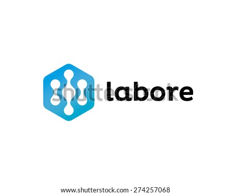 Abstract biotechnology molecule atom dna chip logo design template. Medicine, science,  technology, laboratory, electronics logotype icon. - stock photo