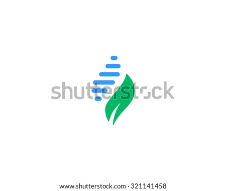 Abstract biotechnology water leaf dna drop logo design. Green energy, medicine, science,  technology, laboratory, electronics logotype icon. - stock photo