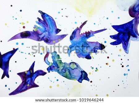 abstract birds background fly creative colorful stock illustration