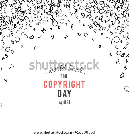 Abstract black alphabet ornament border isolated on white background. illustration for education, writing, poetic design. Random letters fall from top. World book and copyright day - stock photo