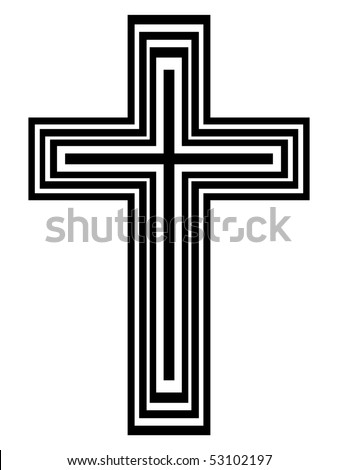 Abstract black and white cross - stock photo