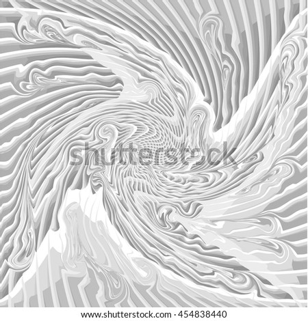 Abstract Black and White Curved Pattern. The Distortion of Space. Striped Texture Structure. Raster 3d Illustration - stock photo
