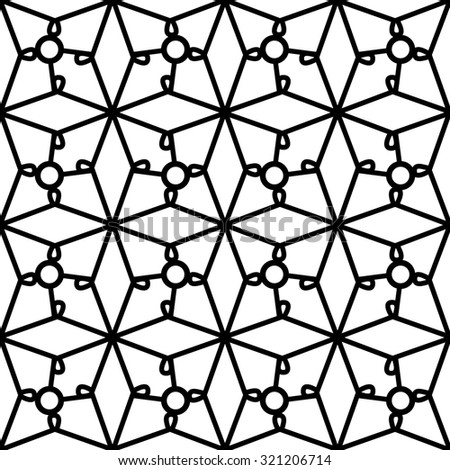 Abstract black and white geometric ornament, lattice, lace texture, raster seamless pattern - stock photo