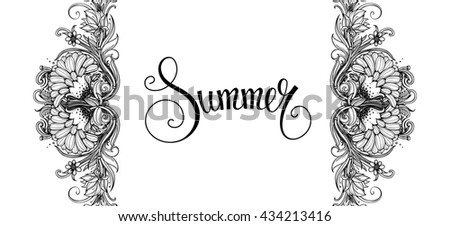 Abstract Black And White Horizontal Floral Banner Flowers Isolated On Background Handwritten Summer