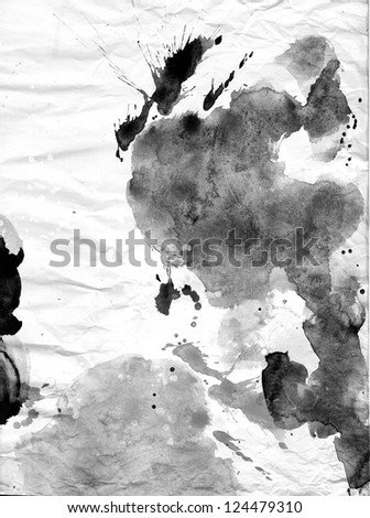 abstract black and white ink painting background - stock photo