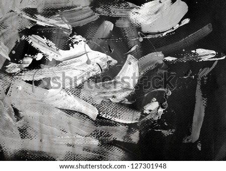 Abstract black and white ink painting on grunge paper texture - artistic stylish background - stock photo