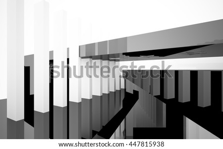 Abstract black and white interior with future columns and decor in the form of stars. Architectural background. 3D illustration. 3D rendering