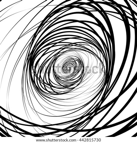 Abstract black and white, monochrome spirally background, pattern with contour lines of random ellipse, oval shapes. Abstract chaotic contemporary art like, artistic image. - stock photo