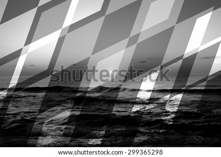 abstract black and white sea geometric background with rocks and water waves - stock photo