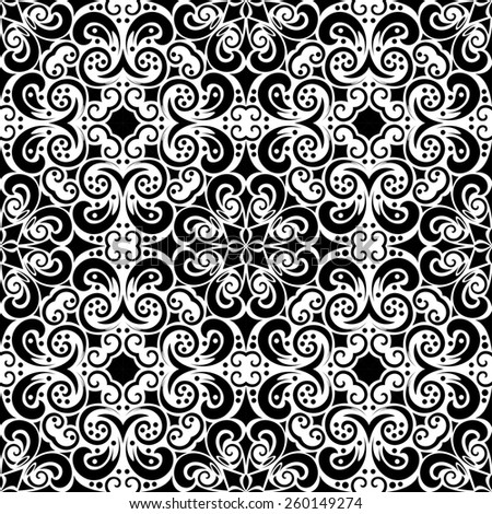 Abstract black and white seamless background, raster version - stock photo