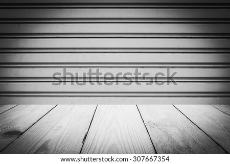 Abstract Black and White Steel sliding doors , Metal sheet slide door texture and Wood Texture for Background.