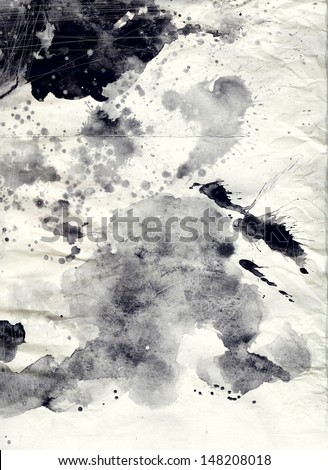 Abstract black and white watercolor background on grunge paper texture - stock photo