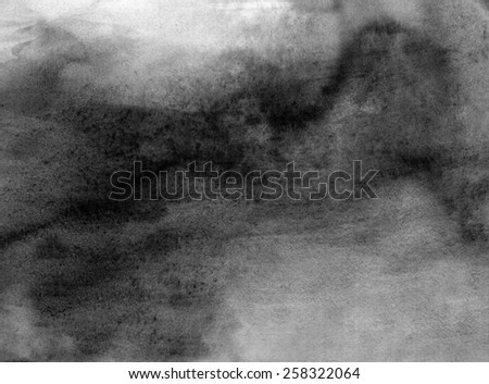 Abstract black and white watercolor light painted background or texture. CLoseup. - stock photo