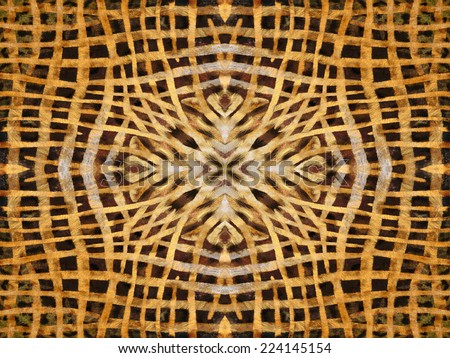 Abstract black and yellow kaleidoscope fur pattern - stock photo