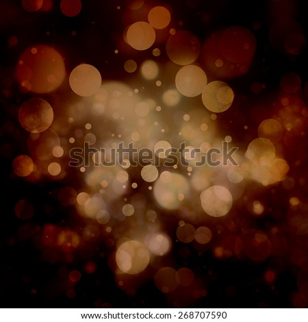 abstract black background, golden bokeh bubble lights snowflakes or rain falling at night. Bokeh background with circle designs or blurred stars shining, glitter magic background - stock photo