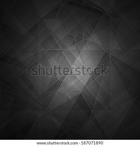 Abstract black background, modern geometric line designs and triangle diamond and square shape patterns with glass texture layout  - stock photo