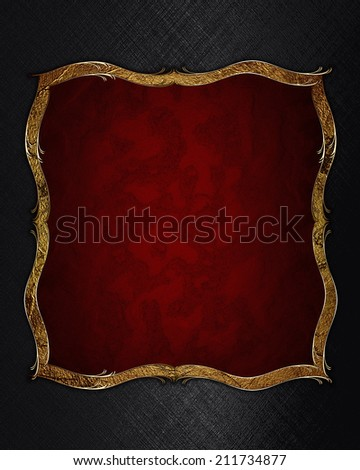 Abstract black background with red plate for text with gold trim. Design template. Design site