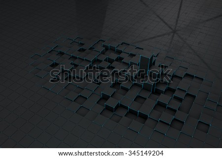 Abstract black 3d blocks  background