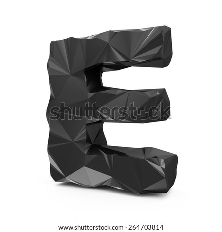 Abstract Black Fractal Geometric, Polygonal or Lowpoly Style Letters isolated on white background (Letter E)