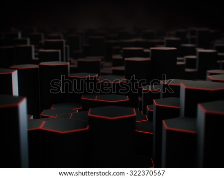 Abstract black hexagon background with red line