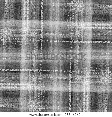 Abstract black ink painting on grunge paper texture. Plaid aquarelle hand painting. Abstract aquarelle texture grayscale backdrop. Hand drawn technique.  - stock photo