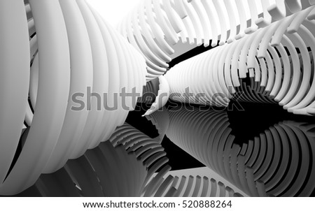Abstract black interior of the future in a minimalist style, consisting of structure white arcs.. Architectural background. 3D illustration and rendering