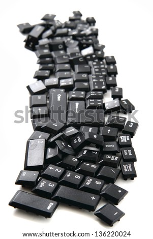 abstract black keyboard isolated on the white background - stock photo