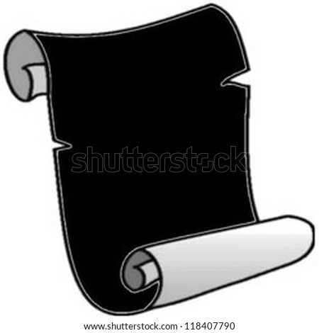 Abstract black old ragged  parchment roll