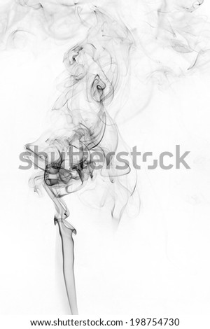 abstract black smoke on white background - stock photo