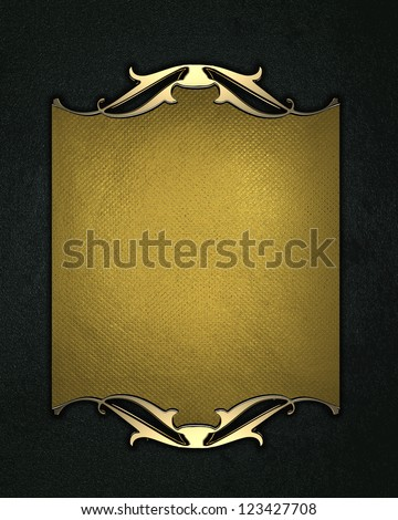 Abstract black texture, with of a gold name plate with gold patterns on the edges