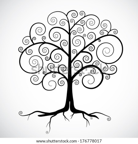 Abstract Black Tree Illustration Isolated on Light Grey Background