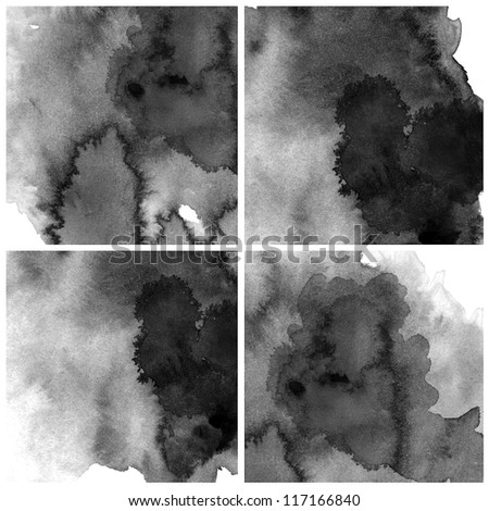 Abstract black water color art background hand paint - stock photo