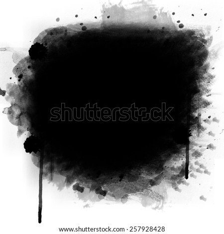 Abstract black watercolor and ink background - stock photo