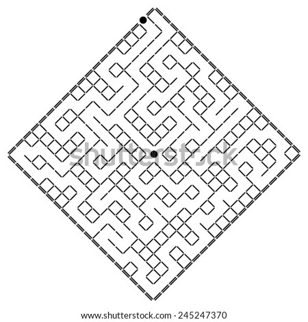 abstract black white labyrinth black white pattern of maze isolated on white background raster - stock photo
