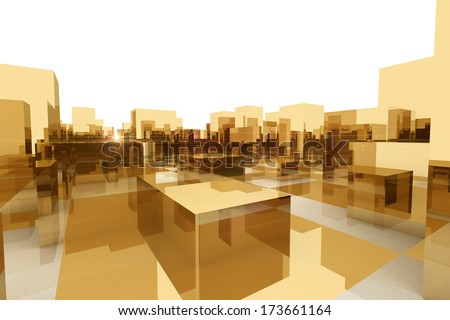 abstract blocks city - stock photo