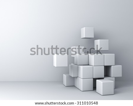 Abstract blocks on white wall background - stock photo