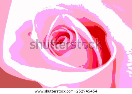 Abstract blooming pink rose, posterize style image. - stock photo