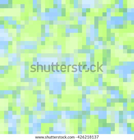 Abstract blue and green background with geometric shapes.