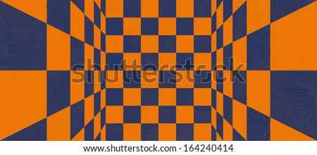Abstract blue and orange checkered texture - stock photo