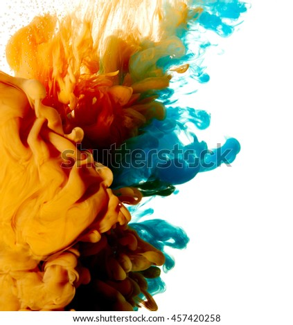 Abstract blue and orange paint splash isolated on white background - stock photo