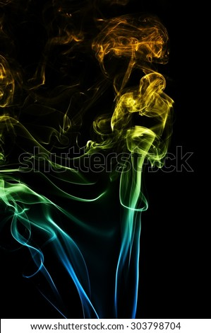 Abstract blue and orange smoke on black background, smoke background,blue and orange ink background, blue and orange fire