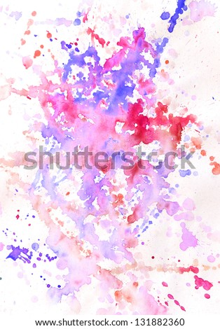 Abstract blue and red pink watercolor background spots and blots - stock photo
