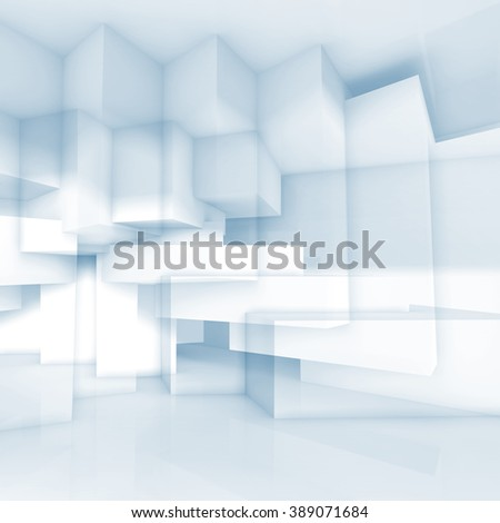Abstract blue and white background with chaotic cubic structures, 3d illustration, double exposure effect - stock photo