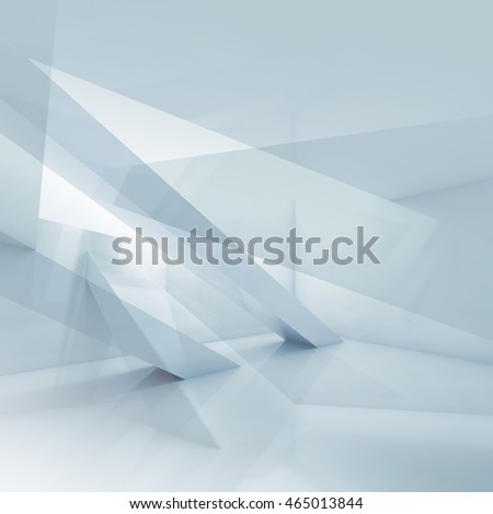 Abstract blue and white digital background with geometric structures, square 3d illustration, multi exposure effect