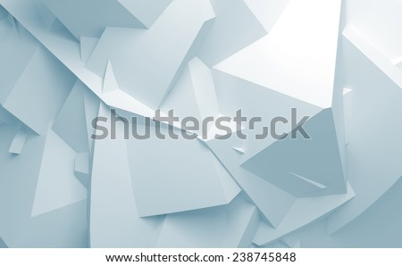 Abstract blue and white digital 3d chaotic polygonal surface background texture - stock photo