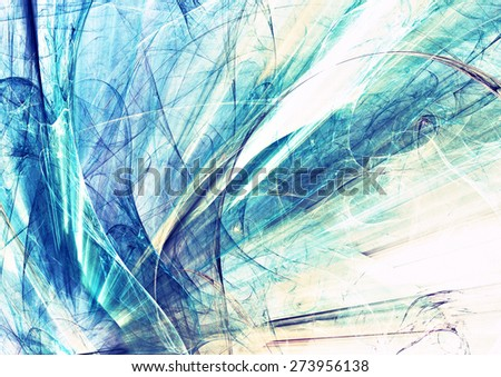 Abstract blue and white motion composition. Modern bright futuristic dynamic background for wallpaper, interior, flyer cover, poster, banner, booklet. Fractal art for creative graphic design. - stock photo